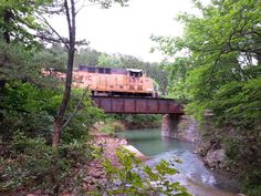 Train crossing bridge at Arkansas and Oklahoma border area