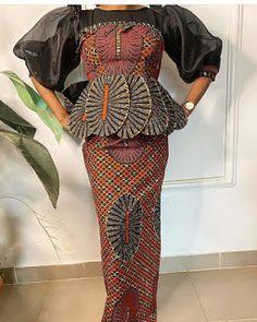 ankara peplum blouse and skirt styles Ankara Peplum Tops, Ankara Skirt And Blouse, Peplum Blouse, Ankara Long Gown Styles, Ankara Styles, Blouse Styles, Skirt Fashion, African Fashion, Two Piece Skirt Set