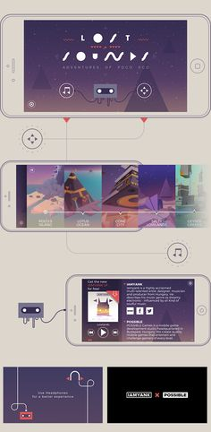 The graphic design of the exploratory mobile game, Adventures of Poco Eco – The Lost Sounds. This was my six-month-long digital project that created a whole new marketing platform,an extended edition LP – where the extra content is a mobile game based Game Design, Web Design, Graphic Design, Game Interface, User Interface Design, Mobile Ui, Mobile Game, Motion Design, Game Gui