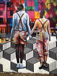 Artist: Eduardo - more @ www. Street Work, 3d Street Art, Street Art Graffiti, Op Art, Kobra Street Art, Street Installation, World Street, Amazing Street Art, Art Graphique