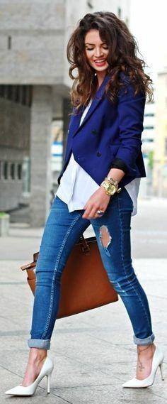 Long dark waves, Zara Navy Blue Modern Cut Blazer by Fashion Hippie Loves #long