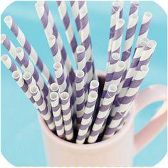Bake It Pretty - Vintage Purple Stripe Paper Straws