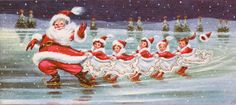#564 60s Ice Skating Santa & Little Girls- Vintage Christmas Card-Greeting