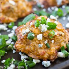 Buffalo Blue Cheese Potato Bites | DizzyBusyandHungry.com - Crispy and delicious shredded potato bites with the flavors of buffalo hot wings baked right in!