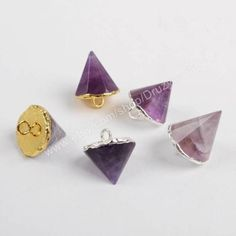 Buy Now Wholesale Tiny Gold Plated Natural Amethyst Triangle...