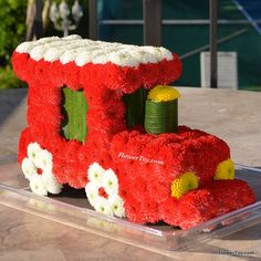 FlowerToy® Little Red Train.  Made from fresh flowers.