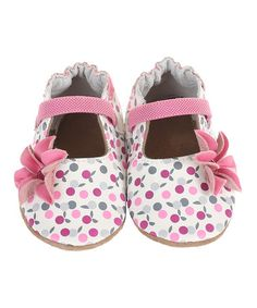 Another great find on #zulily! White & Pink Floral Kennedy Leather Mary Jane #zulilyfinds