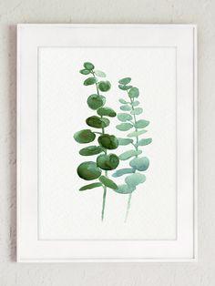 Eucalyptus bladeren set 4 botanische Prints. Minimalistische Scandinavische kamer decoratie. Groene blad aquarel schilderij. Botanische planten Poster keuken illustratie. Er is een prijs voor de set van 4 verschillende Eucalyptus Art Prints zoals in de eerste afbeelding. Het soort