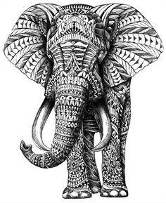 Ornate Elephant by Aura: Elephants, Elephant Art, Elephant Tattoo, Tattoos, Zentangle Elefante Tribal, Elefante Tattoo, Elefante Hindu, Doodles Zentangles, Zentangle Patterns, Elephant Love, Indian Elephant, Elephant Canvas, Elephant Pattern