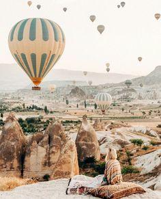 Fly over Cappadokia in a hot air balloon. (Cappadocia, Central Anatolia, Turkey)