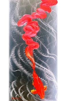 Red art decor 39 red fusion 39 48x20 in large metal wall for Koi metal wall art