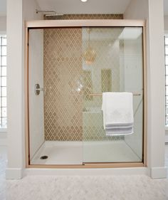 Angela and Mike's shower from Love It or List It episode 23. Tile by World Mosaic, design by Jillian Harris. www.worldmosaictile.com