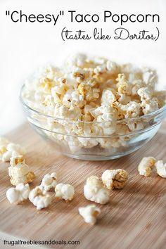 """Cheesy"" Taco Popcorn (Tastes like Doritos, but healthier) -- a little butter or oil to lightly coat popcorn, then toss with seasonings --  ⅛ teaspoon garlic powder,  ⅛ teaspoon onion powder,  ⅛ teaspoon cumin,  ⅛ teaspoon paprika,  ⅛ teaspoon chili powder (not hot),  ¼ teaspoon salt"