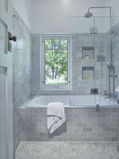 Traditional Bathroom - lovely inset bath with a shower combo, handy niche to kee. Traditional Bathroom - lovely inset bath with a shower combo, handy niche to keep all your bath/ shower items close . Kitchen And Bath Design, Bathroom Design Small, Bathroom Layout, Bathroom Interior Design, Bathroom Ideas, Bathroom Designs, Budget Bathroom, Bathroom Organization, Small Bathroom With Bath