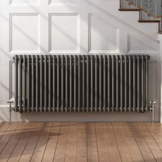 Anthracite Double Panel Horizontal Colosseum Traditional Radiator - Before After DIY Home Radiators, Horizontal Radiators, Bathroom Radiators, Column Radiators, Cast Iron Radiators, Traditional Radiators, Victorian Living Room, Radiator Cover, Dimples