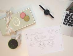 www.One-Giraphe.com #wip #laduree #donut #sketch #logo #logodesign #macarons #paris #luxury #character #illustration #graphic #design #graphicdesign #brandidentity #scene #desk #designer Logo Design, Graphic Design, Character Illustration, Macarons, Brand Identity, Sketch, Scene, Desk, Paris