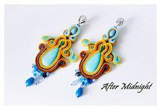 Soutache Earrings, kolczyki sutasz, soutache jewelry,turquoise