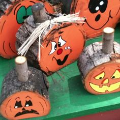 Wooden pumpkins also could do trees for Christmas