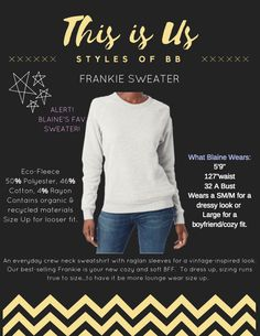 Blaine Bowen Style: The Frankie Sweater Sweaters, Cotton, Style, Swag, Stylus, Pullover, Sweater, Sweatshirts, Pullover Sweaters