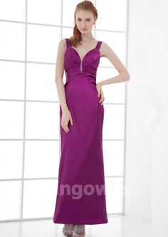 Taffeta Open Back Straps Purple Ankle Length Ruched A-line Sleeveless Evening / Prom Dresses