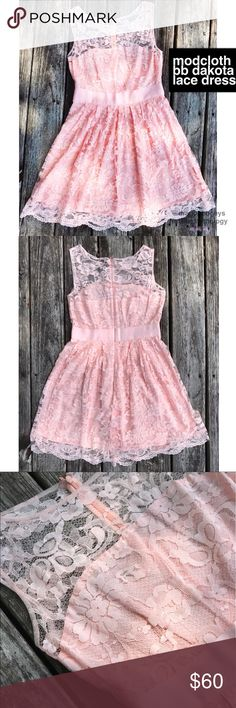 """ModCloth BB Dakota Lace Dress Beautiful baby pink dress with a delicate floral lace overlay. Fully lined. Back zipper closure. Lace fabric is 62% cotton and 38% nylon. Lining is 100% cotton. Length is 37"""", bust is 18"""" laid flat, waist is 15"""" laid flat. Fabric does not give much stretch, only a tiny bit. Worn once for an event, in excellent condition. Marked as ModCloth for visibility. They did/do carry the same version of this dress with sleeves. ModCloth Dresses"""