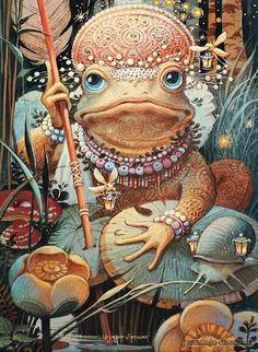 Russian Fairy Tale or Folk Story: The FROG PRINCESS [and Ivan Tsarevich]; the book's cover so to speak. The tale is long, and the illustrations I've included are a mere sampling of the complete tale. Frosch Illustration, Illustration Art, Les Moomins, Petit Tattoo, Frog Princess, Frog Art, Fairytale Art, Russian Art, Whimsical Art