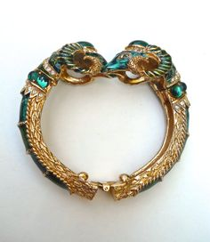 Double Ram Head Hinged Bangle by CRAFT Green by RenaissanceFair