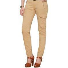 Pre-owned Skinny Pants ($134) ❤ liked on Polyvore featuring pants, khaki beige color, zipper cargo pants, patterned pants, beige pants, zip pants and beige cargo pants