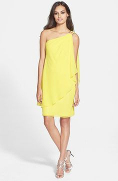 Laundry by Shelli Segal One-Shoulder Drape Chiffon Dress available at #Nordstrom