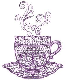 Tea Time Free Embroidery Design
