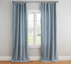 Belgian Flax Linen Rod Pocket Sheer Curtain - White | Pottery Barn Light Blue Curtains, Blue Curtains Living Room, Drapes And Blinds, White Curtains, Blue Bedroom, Blackout Curtains, Bedroom Decor, Living Rooms, Bedroom Drapes