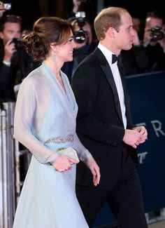 """Catherine, Duchess of Cambridge and Prince William, Duke of Cambridge attended the premiere of the latest James Bond movie, """"Spectre"""", that stars Daniel Craig. ~ October 26, 2015."""
