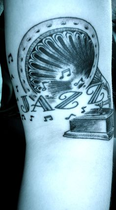 gramophone tattoo - based on a 1914 etching in a Swedish ad