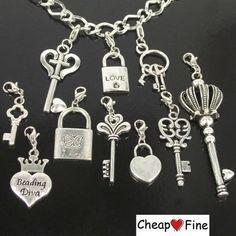 Lots 30pcs Tibetan Silver Key Lock Love Lobster Claw Clasp Charms Bead | eBay