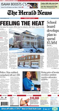 The front page of The Herald News for Tuesday, March 10, 2015. #fallriver #frfd