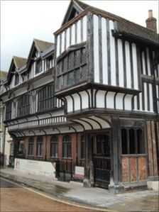 "The Tudor House Museum in Southampton. ""The house was originally constructed in the 1490s near Southampton's prosperous port by the builder of the Mary Rose, John Dawtry."""