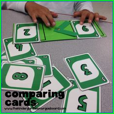 Use card to show greater than less than when comparing numbers!