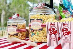 DIY Backyard Movie Night Concession Stand - perfect for an outdoor movie night or a movie-themed party! Backyard Movie Night Party, Outdoor Movie Party, Backyard Parties, Birthday Movie, Birthday Party Themes, Birthday Ideas, 11th Birthday, Birthday Bash, Birthday Popcorn
