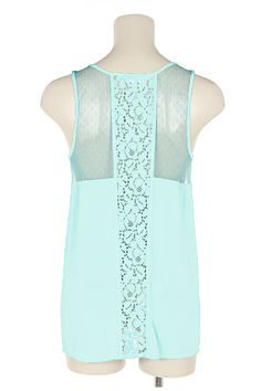 Lace Inset Maggie Top in Pale Mint | Emma Stine Coupons, Reviews and Savings