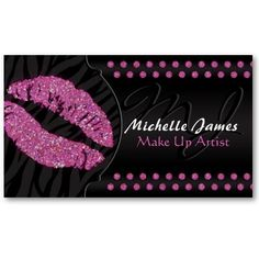 Modern Sparkling Zebra Monogram Make Up Artist Business Cards. This great business card design is available for customization. All text style, colors, sizes can be modified to fit your needs. Just click the image to learn more! Beauty Business Cards, Salon Business Cards, Makeup Artist Business Cards, Unique Business Cards, Business Card Design, Business Hair, Business Card Maker, Cosmetology, All You Need Is