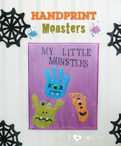 Monster Handprint and Footprint Art - Fun Family Crafts Halloween Crafts For Toddlers, Toddler Halloween, Halloween Art, Halloween Themes, Halloween Witches, Happy Halloween, Halloween Decorations, Halloween Costumes, Toddler Art