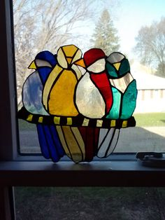 Original Handmade Stained Glass Birds Window by melindakordich