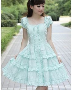 Short Sleeves Mint Ruffles Lolita Dress $59.99-Cotton Lolita Dresses - My Lolita Dress