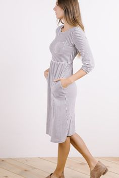 The Genevieve Striped Sweater Dress in White SMALL