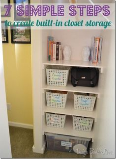 7 simple steps to create cheap easy built in closet storage, cleaning tips, closet, diy, shelving ideas, storage ideas, Next up I grouped the items that I needed to store snagged some on hand baskets created labels and put everything away Worked like a charm
