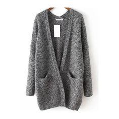 Slit Pockets Fuzzy Grey Coat ($38) ❤ liked on Polyvore featuring outerwear, coats, cardigans, jackets, grey, grey coat, grey cocoon coat, fuzzy coat, long coat and gray coat