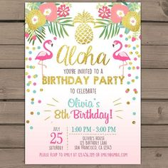 Flamingo party invitation Tropical Birthday Invitation luau birthday party Flamingo pool party Pink mint Gold Digital Printable ANY AGE by Anietillustration on Etsy https://www.etsy.com/listing/270324718/flamingo-party-invitation-tropical