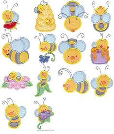 Busy Bees Applique - 14 Different Applique Machine Embroidery Designs 4x4 5x7 6x10