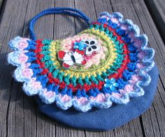 Little Handbag Bag for Small Lady Bag with Butterflies and Flowers Navy Blue Red Pink Yellow Green Boho Crochet Purse Hippie Eco friendly - pinned by pin4etsy.com