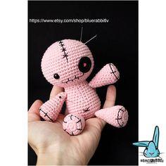 Sitting Voodoo Doll. Pink. Crochet amigurumi toy pincushion.
